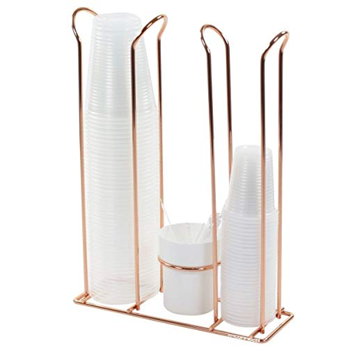 Porta Copos Descartáveis 200ml e 50/80ml Porta Mexedores - Rosé Gold