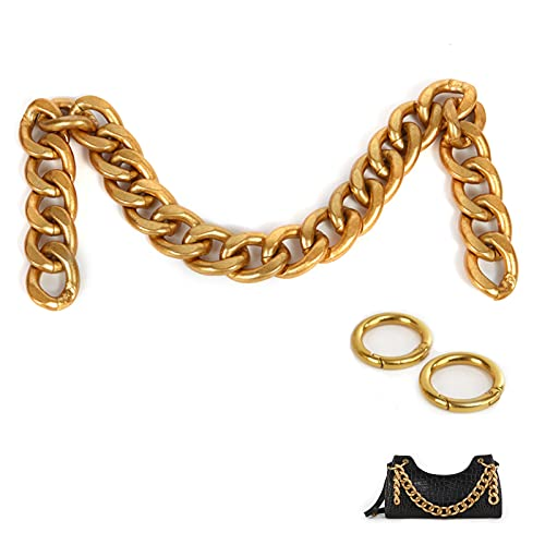 Xiazw DIY Heavy Chunky Aluminum Metal Purse Handle Bag Chain Charms Strap Replacement Handbag Accessories Decoration (Gold)
