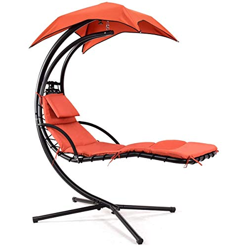 Giantex Hanging Chaise Lounger Swing Chair with Arc Stand, Porch Swing Hammock Chair with Removable Canopy, 330lbs Weight Capacity (Orange)