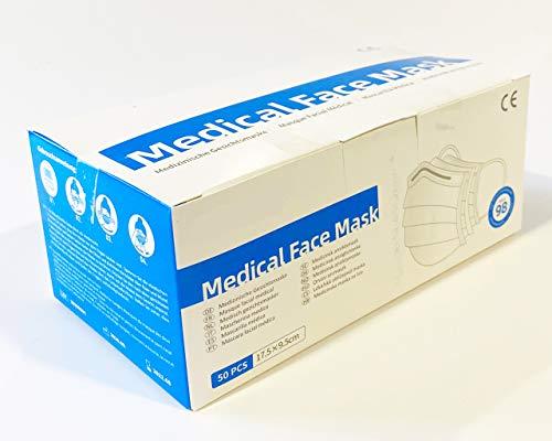 Tegcare Type IIR Medizinische Mundschutz, Blau, 50 Stück, BFE > 99%, EN14683:2019, 200 g