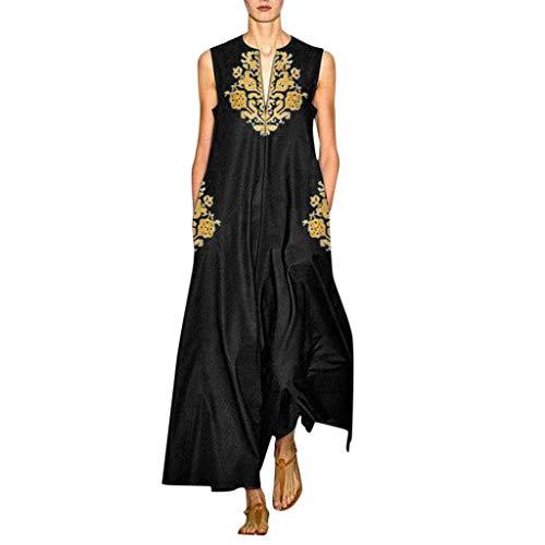 Vectry dam sommarklänning ärmlös v-ringad maxiklänning lätt un luftig skjorta klänning elegant aftonklänning överdimensionerad strandklänning blommönster lång tunika klänningar med väska plus size dress, - svart - X-Large