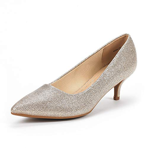 DREAM PAIRS Women's Moda Gold Glitter Low Heel D'Orsay Pointed Toe Pump Shoes Size 6.5 M US