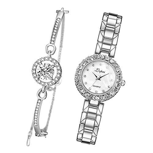milageto Conjunto de Pulsera y Reloj para Mujer de Color Rosa, Pulsera de Cadena, Brazalete, Reloj de Cuarzo, Reloj de Pulsera - Blanco Plateado de Plata
