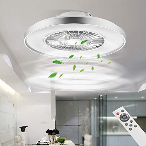 BKZO LED Ceiling Light with Fan, Ceiling Fan Lights 24 Levels Wind Speeds, Stepless Dimming Light, Modern Fan Lighting for Living Room, Dining Room, Bedroom, Office, 3000-5500K, Silver Frame