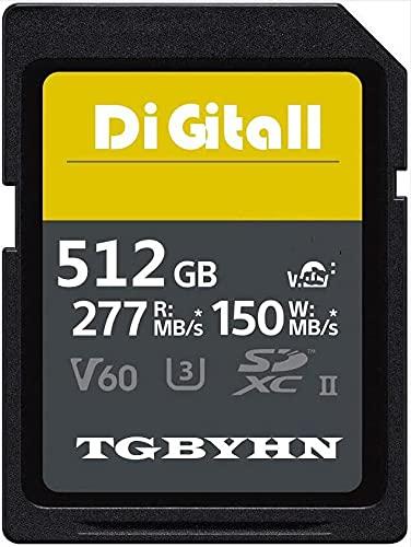 Tarjeta de memoria SDXC de alta rendimiento, 512 GB, tarjeta SD UHS-II, C10, velocidad de hasta 150 MB/S y 277MB/S, compatible con cámaras digitales (512 GB)