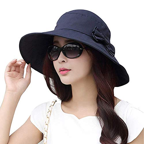 Comhats - Cappello parasole pieghevole, da donna, con tesa larga, UPF 50+ 69038_blu S