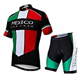 Men Cycling Jersey Set Short Sleeve MTB Road Bike Shirt Jacket Bicycle Clothing Gel Padded Bib Shorts Mexico Size L