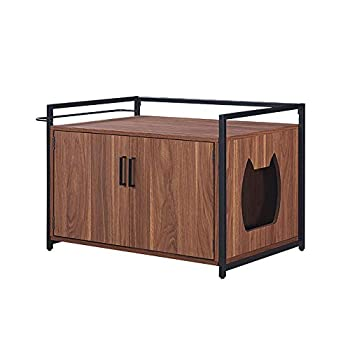 Boîte à litière unipaws pour chat avec structure robuste en fer et bois et noyer