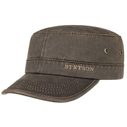 Stetson Datto Army Cap (Kubacap), coole aus Baumwolle gefertigte Militärmütze für Herren, Armee-Mütze Gr.S/54-55-Braun