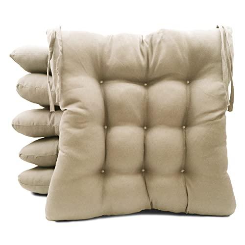 Pack de 6 Cojines para Sillas de Exterior e Interior Reversibles 40 x 40 x 7 cm, con Correas de Sujeción (Beige)
