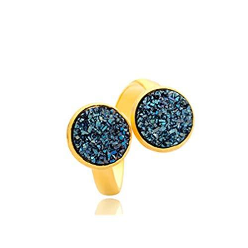 yichahu Anillo ajustable de piedra de cristal natural de drusa, anillo de diamante de imitación (dorado + azul)