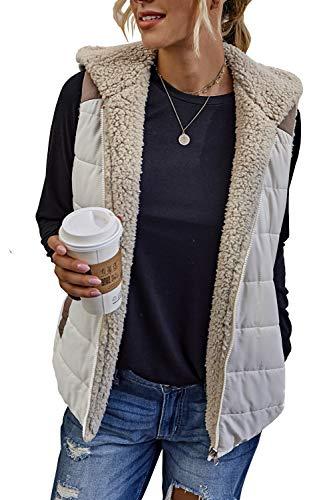 Yanekop Womens Fuzzy Fleece Zip Up Reversible Vest Hooded Sherpa Jacket with Pockets(Apricot,XL)