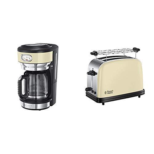 Russell Hobbs Retro 21702-56 - Cafetera de goteo, jarra cafetera de cristal para 10 tazas, 1000 W + Hobbs Colours Plus Tostadora (2 Ranuras Cortas y Anchas, para 4 Rebanadas), 1100 W, 0 Decibeles