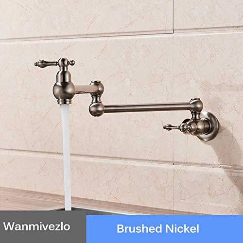 G0000D - Grifo de cocina cromado para montaje en pared, grifo de baño lavabo, grifo de agua fría, giratorio, boquilla plegable de latón, para lavabo, grúa de lavabo de lavabo de alta calidad y envío gratis