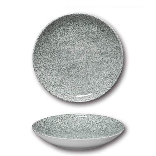 Assiettes à couscous porcelaine - D 26 cm - Moucheté gris x 6