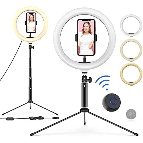 DOOK Aro de Luz con Tripode, Anillo de Luz 10 Pulgadas con un Trípode 47cm, 3 Colores de Luz y 10 Niveles de Brillo con Control Remoto Selfie Maquillaje Youtube TIK Tok Live