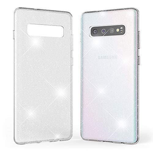 Kaliroo Handyhülle Glitzer kompatibel mit Samsung Galaxy S10, Durchsichtige Diamant Hülle Silikon Schutzhülle Glitter Hülle, Ultra-Slim Cover Bling Handy-Tasche Strass Backcover Bumper - Transparent