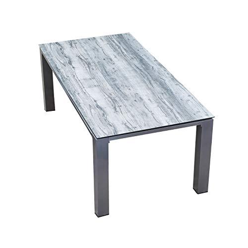 LC Garden Gartentisch Diningtisch 180 x 90 cm Nizza Dining Esstisch White Grey Aluminium Glaskeramik