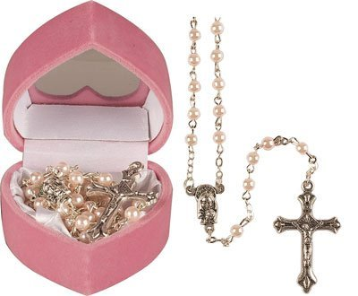Baby Girl's Baptism Gift - child's FIRST ROSARY BEADS - pink pearl effect rosaries, including a How to Pray the Rosary leaflet