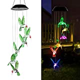 AVEKI Solar Wind Chimes Outdoor, Color-Changing Solar Mobile Wind Chime Waterproof Solar Powered LED Hanging Lamp for Outdoor Garden Festival Decoration (Hummingbird)