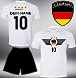 Deutschland Trikot Set 2018 mit Hose GRATIS Wunschname + Nummer im EM WM Weiss Typ #DE3th - Geschenke für Kinder Erw. Jungen Baby Fußball T-Shirt Bedrucken