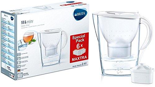 BRITA Marella  - Jarra con filtro de agua 2.4 L, 6 filtros, Color Blanco