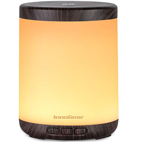 InnoGear 150ml Essential Oil Diffuser, Ultrasonic Aromatherapy Diffusers Cool Mist Humidifier with Colorful Mood Lights Waterless Auto off for Home Office Baby Room, Brown