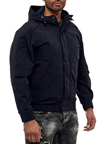 EGOMAXX Herren Basic Übergangsjacke College Blouson mit Kapuze Regen Jacke, Farben:Schwarz, Größe Jacken:XXL