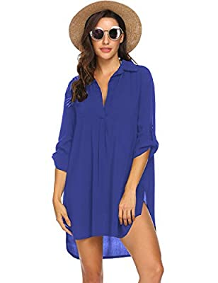 Ekouaer Womens Bathing Suit Swimwear Beach Cover up Bikini Coverups Swimsuit Shirt Dress
