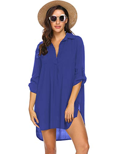 Ekouaer Womens Bathing Suit Swimwear Beach Cover up Bikini Coverups Swimsuit Shirt Dress