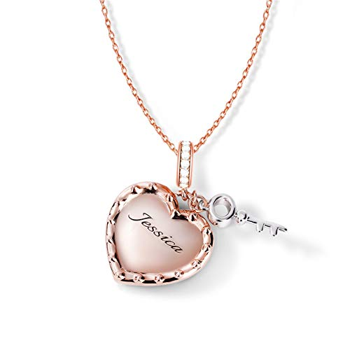 Gnoce Rose Gold Heart Pendant Necklace Sterling Silver'You Are My Key' Engravable Name Personalized Necklaces Custom Jewelry for Women Girl Adjustable Length Chains