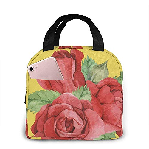 Red-Rose Lunch Bag Réutilisable Lunch Box Lunch Cooler Tote