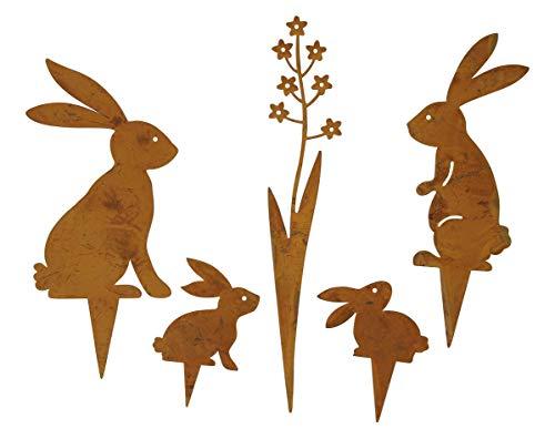 dekorativer Deko-Stecker Garten-Stecker Mini Pick Hasen und Blümchen Metall edelrost Set 5 teilig