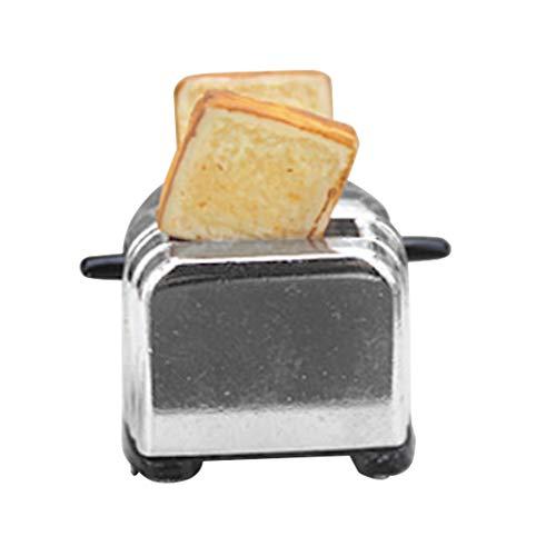 Puppenhaus-Miniatur-Toaster, Brotmaschine, mit Toast, Zubehör für Miniatur-Küche, Kochgeschirr, Deko-Zubehör, für Maßstäbe 1:6 und 1:12 silber