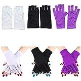 Kalolary 3 Pairs UV Shield Glove Gel Manicures Fingerless Anti UV Glove, Protect Hands from UV Light Lamp Manicure Dryer (Black, Purple, White)