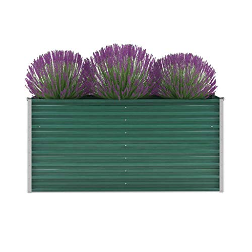 Canditree Rectangular Galvanised Steel Raised Garden Bed, Outdoor Planter Box for Vegetables, Herbs, Flowers (160x40x77 cm)