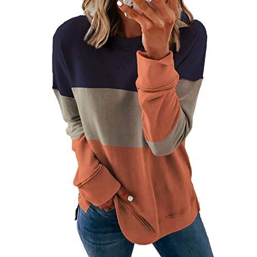 qiaoxiahe Pullover Sweatshirt Damen Trikolore Spleißen Streetwear Casual Langarmshirt Lange Rundhals Pulli Bluse Top Oberteile Loses mit Rundhalsausschnitt