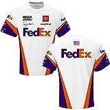 Checkered Flag Denny Hamlin 2021 FedEx Sublimated Uniform T-Shirt White (X-Large)