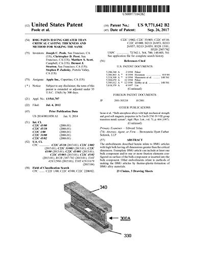 BMG parts having greater than critical casting thickness and method for making the same: United States Patent 9771642 (English Edition)