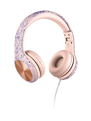 New! LilGadgets Connect+ PRO Kids Premium Volume Limited Wired Headphones with SharePort and Inline Microphone (Children) - Girl Power