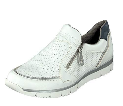 Relife Damen Slipper Schuhe Sneaker R4045 in Weiß mit Reißverschluss (42 EU)