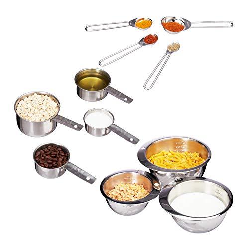 Relaxdays, Silber Küche 11er Mess-Set, Messbecher, Messlöffel, Rührschüssel, graviert, amerikanische Cups, Edelstahl, Standard