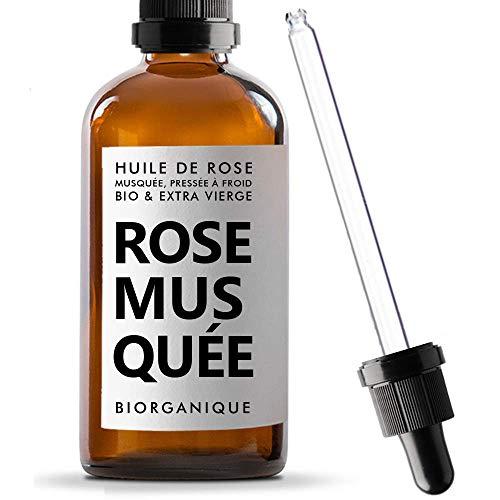 Huile de Rose Musquée BIO - 100% Pure, Naturelle, Pressée à froid & Bio - 50 ml - Soin Anti-âge, Peau, Cicatrices et Vergetures.