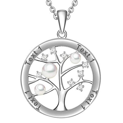 LOVORDS Collar Mujer Grabado Plata de Ley 925 Personalizado Colgante Árbol de la Vida Familiar Perla Cultivada Blanca de Agua Dulce 3-4mm Regalo Madre Mamá Esposa Novia Abuela Hija