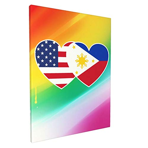 USA American Flag And Filipino Philippines Flag Paintings Home Decor Art Print Oil Painting Original Canvas Wall Art For Living room (12x16inch,Framed)