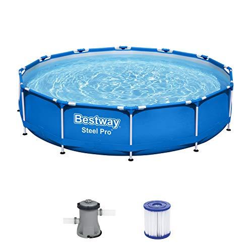 Bestway Steel Pro Framepool Set, rund, mit Filterpumpe 366 x 76 cm Pool, Blau