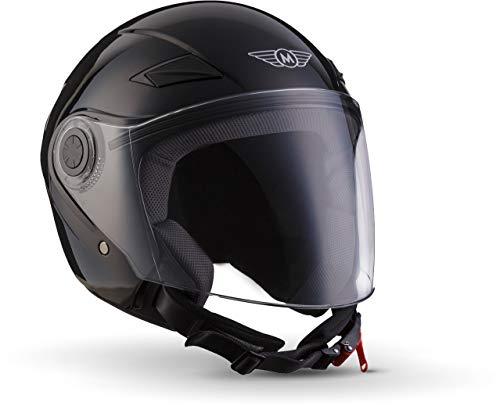 "Moto Helmets® U52 ""Gloss Black"" · Jet-Helm · Motorrad-Helm Roller-Helm Scooter-Helm Bobber Mofa-Helm Chopper Retro Cruiser Vintage Pilot Biker Helmet · ECE Visier Schnellverschluss Tasche L (59-60cm)"