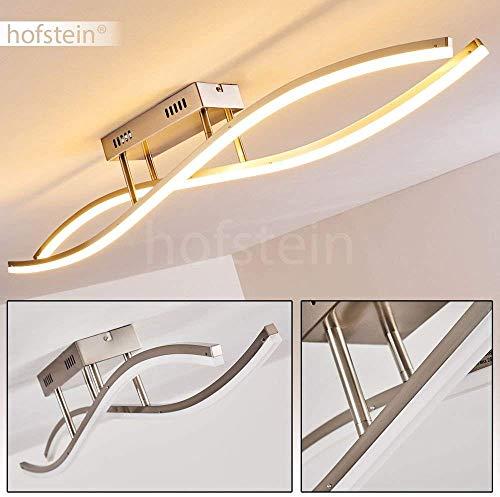 LED plafondlamp Atina, langwerpige plafondlamp van metaal in mat nikkel in golfvorm met gebogen lichtstroken, 26,5 Watt, 2300 lumen, lichtkleur 3000 Kelvin (warm wit)