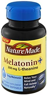 Nature Made Melatonin+ 200mg L-Theanine Dietary Supplement Liquid Softgels - 60 CT (Pack of 2)