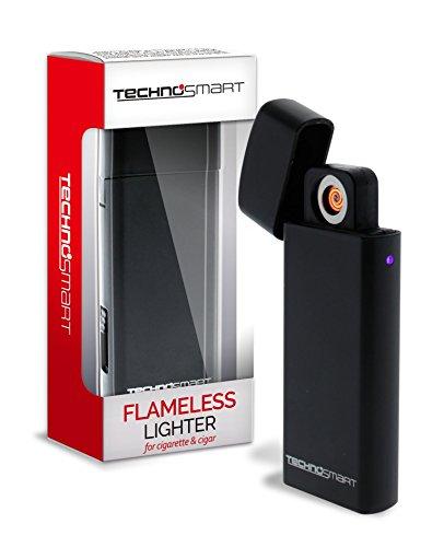 TECHNOSMART Briquet électrique Noir, Briquet USB Rechargeable, Briquet Electronic pour Cigarettes et Cigars, Briquet Arc électrique sans gaz ni Essence